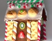 Last One! ONE - Miniature Fimo GINGERBREAD HOUSE For Your Dollhouse or Fairy Garden.