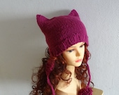 Cat Ears  earflaps Hat Cat Beanie Chunky Knit Winter Accessories Animals Hat  cat ears hat POM POM hat