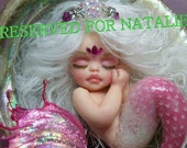 OOAK art doll fantasy mermaid baby polymer clay sculpture fairy october birthstone tourmaline    IADR       free shipping