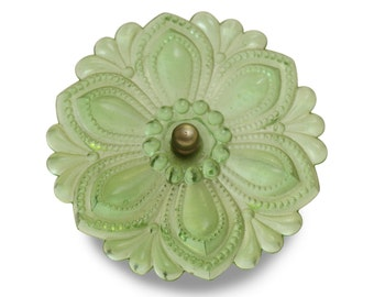 Single green glass repro curtain tie back