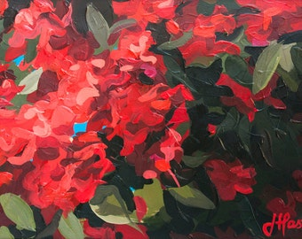 """Floral Painting // Rhododendrons // 13"""" x 9"""" // Original Acrylic Painting on Paper"""