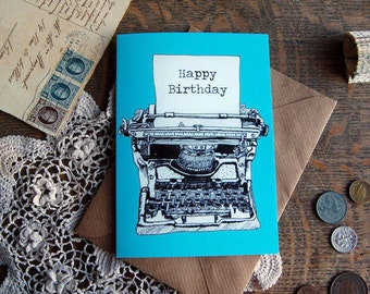 Illustrative Typewriter Greeting Card 'Happy Birthday' in 4 Colours: Pink, Purple, Blue, Yellow