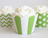 Lime Green Cupcake Wrappers  Polka Dot Cupcake Wrappers Cupcake Birthday Party Green Chevron Stripe Cupcake Wrapper Cupcake Cups / Set of 12