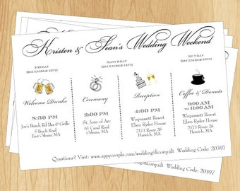 Couple's Wedding Weekend Schedule - Printable DIY