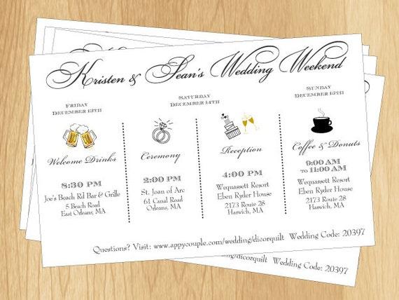 couples wedding weekend schedule printable diy