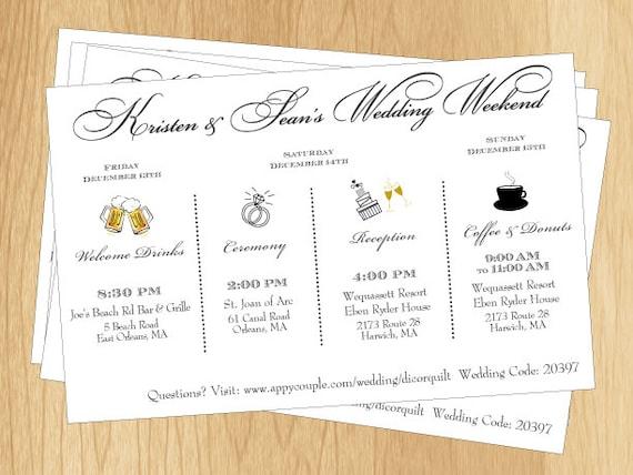 Items Similar To CoupleS Wedding Weekend Schedule  Printable Diy