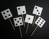 Set of (12) Dice Cupcake topper picks for Game Night