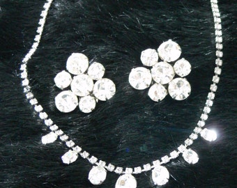 clear rhinestone necklace and clip earrings set