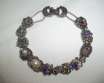 Evening Floral Slider Charm Bracelet With Moon & Stars Colorful Rhinestones And Pearls