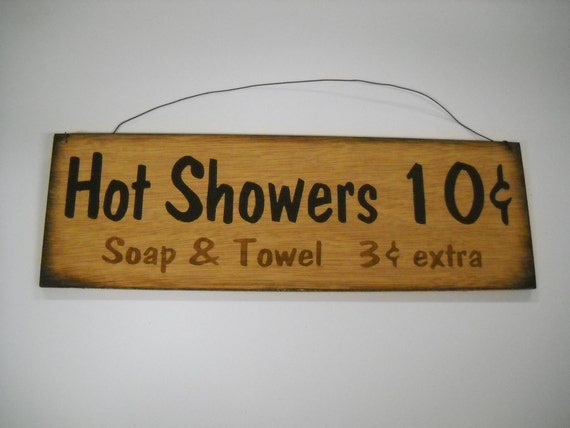 Hot Showers 10c Soap Towels 3c  hand stenciled wooden Country Bathroom Sign bath decor