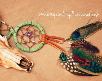 Dreamcatcher Feather Custom Made Purse Charm/ Bag Ring
