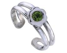 Peridot toe ring,  genuine gemstone ring, 925 Sterling Silver Toe Ring