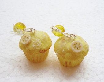 Banana Muffin Earrings. Polymer Clay.