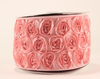 "Pink rose ribbon - 4"" wide, 5 yard bolt - wedding bridal baby shower scrapbooking sewing"