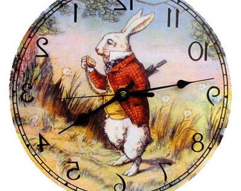 15 inch Classic White Rabbit clock. Runs Backwards!  Made in the U.S.A.