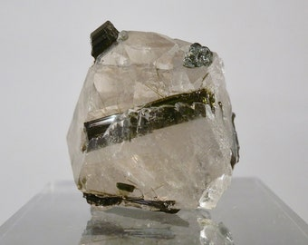 Cabinet Display Mineral 4.8 oz (136 grams) Green Tourmaline and Crystal Quartz Matrix Mineral Display Specimen Brazilian DanPickedMinerals