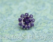 Rhinestone Buttons -Cleopatra- (11mm) RS-001 in Tanzanite - 5 piece set