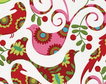 Pretty Bird in Santa Christmas by Pillow & Maxfield Michael Miller fabric 1 yard