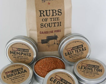 Gusto's RUBS of the SOUTH - Excellent Barbecue Gift Set for the Hubby - BBQ Spices / Rubs