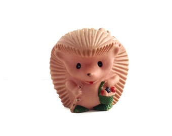 Hedgehog rubber toy, for home decor, nursery decor, or just to play with