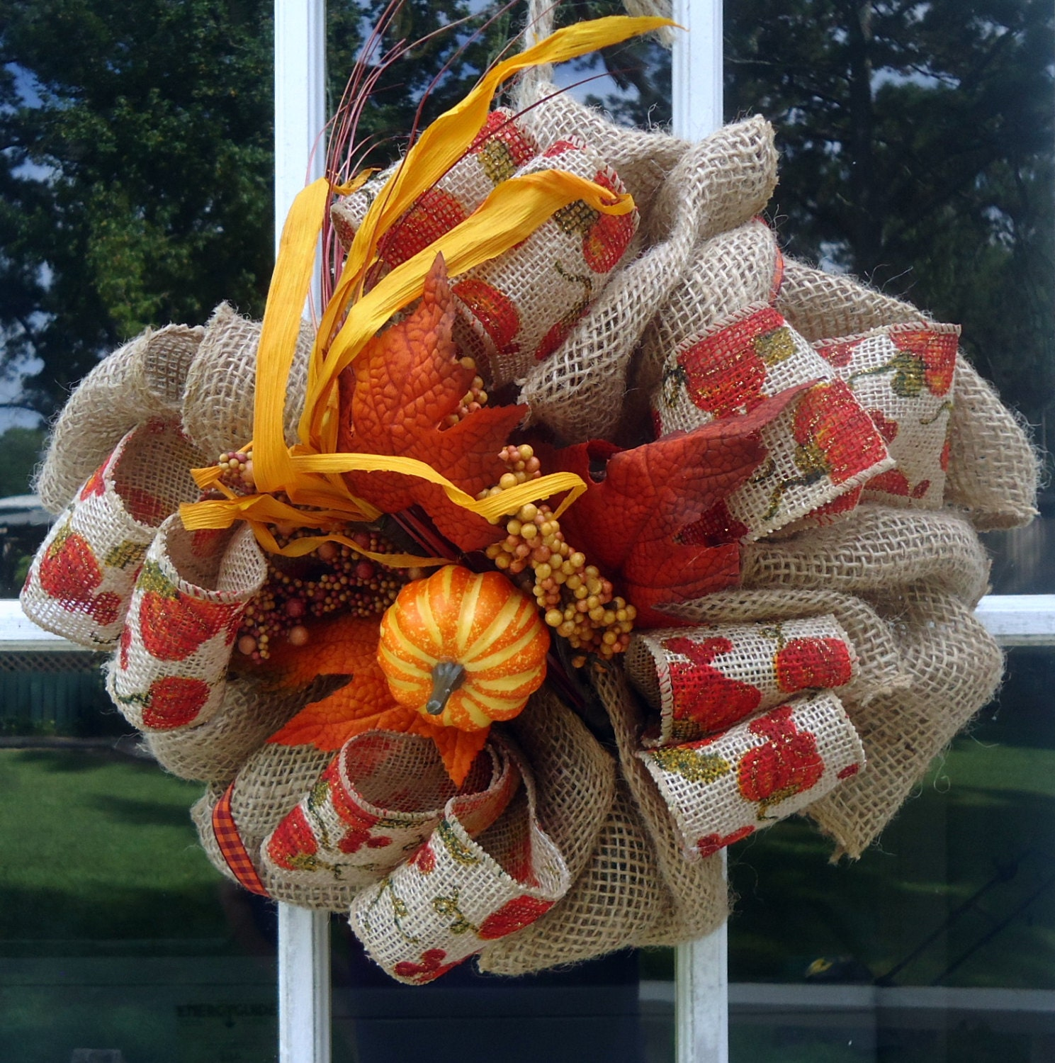Fall Wreath Front Door Decor Decorations Burlap Outdoor Indoor