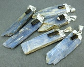 Raw Blue Kyanite with attached Black Tourmaline piece Pendant Charm with Silver Plated Cap (KYN-06)