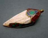 Tibetan Bone Shell Tusk with Brass Cap and Bail and Turquoise, Blue Lapis, and Red Coral Inlayed- Boho Fashion 2014 (S22B7-08)