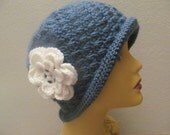 Blue Cloche Beanie Hat With White Flower, Usa Seller