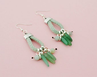 Tribal Dangle Earrings, Green Agate Earrings, Amazonite Beaded Earrings, Rope Chandeliers, Jade Green, Seafoam