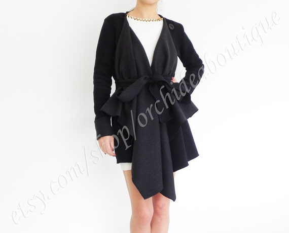 Black wrap cardigan belted jacket blazer coat draped oversized