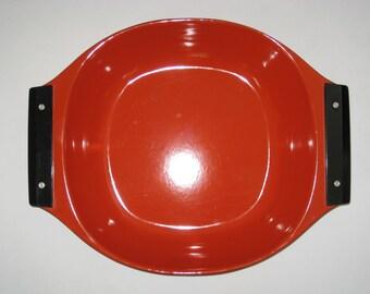 Cathrineholm Mid Century Modern Large Orange Red Enameled Paella / Roasting Pan Tray Bowl