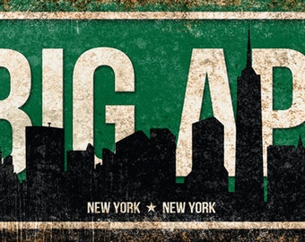 "The Big Apple // New York City  // Metal Sign // 5.5"" x 22"""