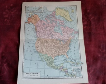 1936 NORTH AMERICA Vintage Maps,  USA map