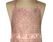 Pink Paisley Floral Fabric 'Kitchen Basics' Woman's / Ladies Apron - Birthday, Christmas Gift Idea .  HANDMADE .