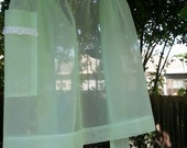 Vintage Green Dotted Swiss Hostess Half Apron with pocket sheer