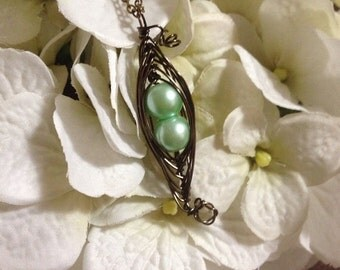 Pearl Pea Pod Birthstone Necklace