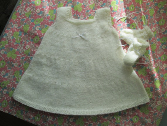 Preemie Baby Girl Hand Knit Dress and Booties Size by SwanAvenue