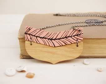 Coral Feather Necklace Wooden Chevron Necklace Wood  Necklace Minimalist Modern Jewelry Made to Order