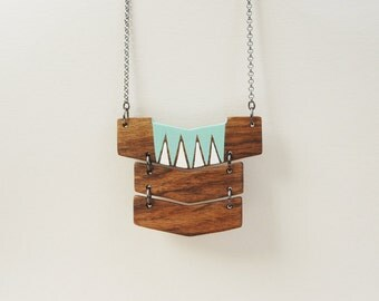Big Wood Geometric Necklace Triple Chevron Necklace Statement Necklace Eco Friendly Made to Order