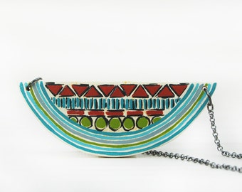 Colorful Geometric Necklace Chunky Statement Necklace Color Blocking Wood Necklace