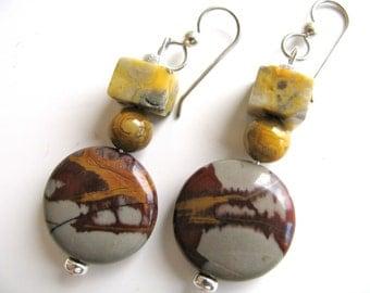 Red and grey earrings, Noreena Jasper earrings, handmade earrings, gemstone earrings, dangle earrings B-636