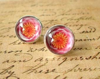 20 % OFF - Pink Lotus Flora Flower Cabochon Stud Earrings,Earring Post,Cute Gift Idea