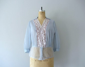 1950s blue blouse . vintage 50s sheer nylon blouse