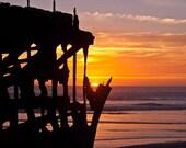 Shipwreck, Peter Iredale, Oregon Coast Sunset photograph matted 16x20