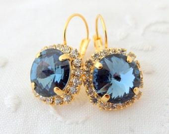 Navy blue drop earrings,crystal Swarovski drop earrings,navy blue bridesmaid gifts,navy blue bridal earrings, Dangle earrings, gold earrings
