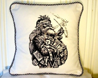 """shabby chic, feed sack, french country, vintage Santa graphic with gingham welting 14"""" x 14"""" pillow sham."""