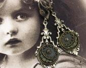 Steampunk Earrings Blue Floral Antique Button Romantic Flower Earrings 40