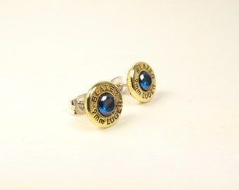 Bullet earrings true blue cubic zirconia and brass post earrings Blazer 9mm