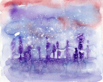 Abstract painting Original watercolor Whimsical snowy day surreal purple violet blue pink
