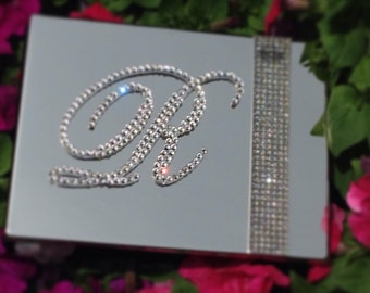 Monogram Glitter Galore Guest Book with Clear Swarovski Crystals